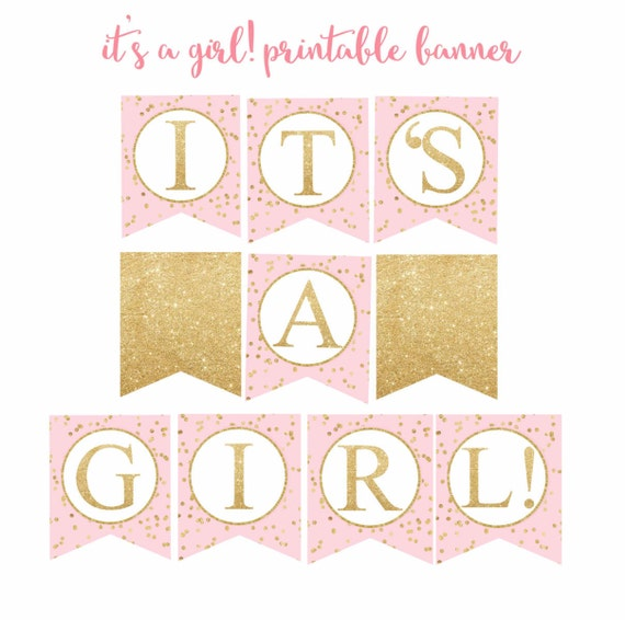 Pink And Gold Baby Shower Banner It S A Girl Banner Baby Shower Banner Pink And Gold Printable Banner Digital File