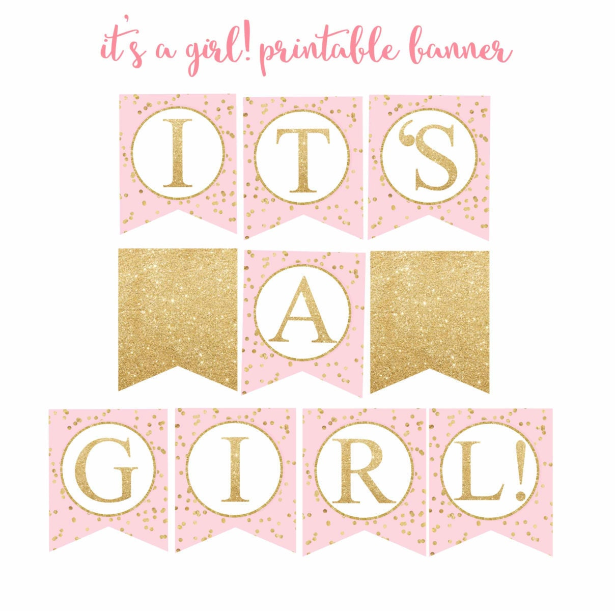image about Free Printable Baby Shower Banner called Red and Gold Boy or girl Shower banner, Its a female! banner, Kid Shower Banner, red and gold printable banner, Electronic Document.