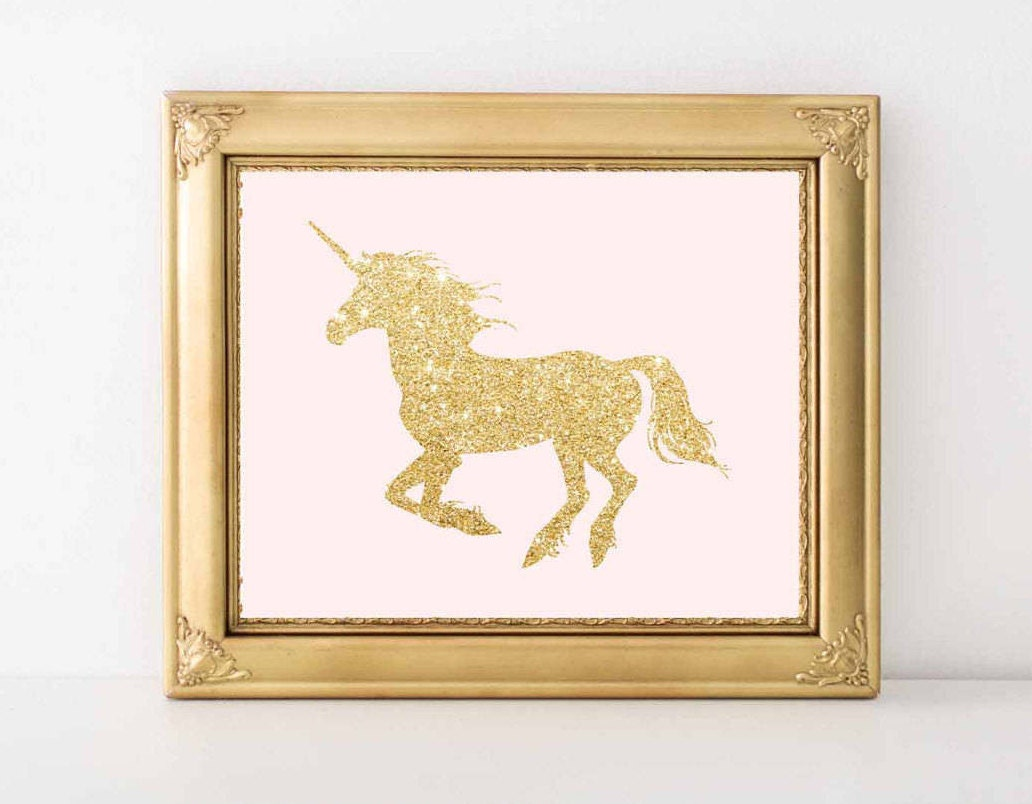 Unicorn Wall art print Pink and Gold Nursery Decor Unicorn | Etsy