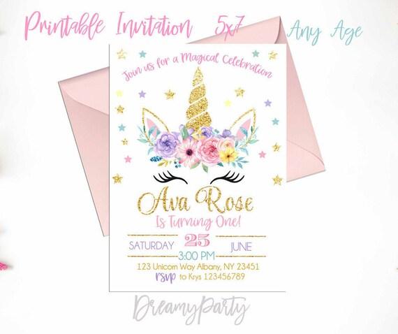Unicorn Birthday Invitation First Floral Rainbow Printable UF201