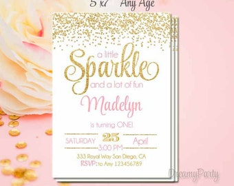 Pink and Gold First Birthday Invitation, Sparkle Invitation, She Leaves a Little Sparkle Invite, Pink Gold Invitation,5x7, Printable. S132