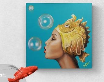 Splash, original oil painting on gallery canvas , vintage swim cap for synchronized swimming