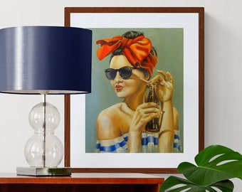 """Sunkissed vintage style art print from original painting by samartisan on 8x10"""" retro girl vintage portrait pin up style"""