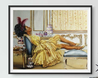 Regency art print ,Marie Antoinette style , Royal black woman , Bridgerton art