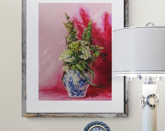 Chinoiserie art print of Wildflowers in Blue white vase,  floral still life