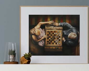 Chess lovers art print, Steve McQueen in Thomas crown with Faye Dunaway