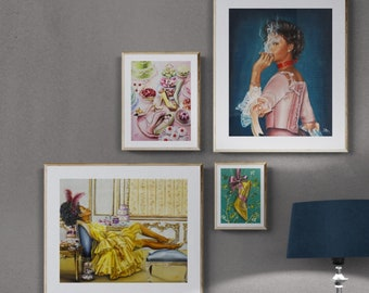 Royal women of color ,Marie Antoinette style instant gallery wall art, high quality archival fine art prints