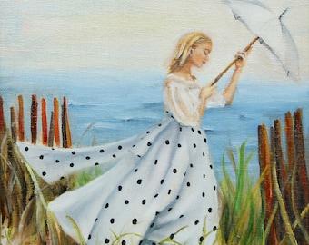 Walking along the beach fine art print, vintage home décor fashion art, relaxing walking on sandy beach