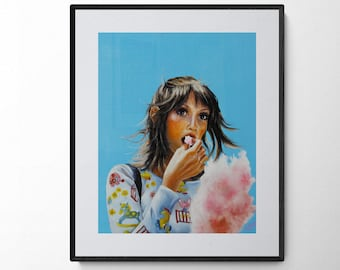 Shelley Duvall art print, portrait of 70's iconic fashion style