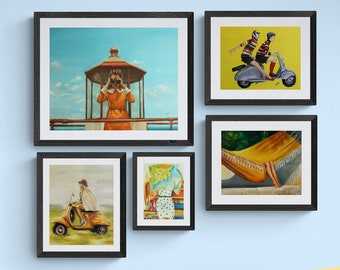 Instant retro gallery wall art, high quality archival  fine art prints , vintage gallery wall art set of 5