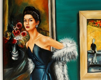 """Vintage inspired Art print from original oil painting """" Solo Show """"Glamour vintage portrait"""