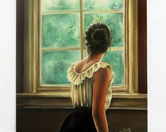 Through the looking glass ,romantic art print ,  thinking of you
