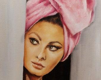 Sophia Loren portrait Art print ,Vintage movie star Hollywood glam