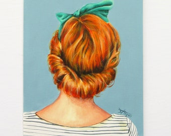 vintage style Art print , ginger hair drawing ,redhead portrait beach home decor