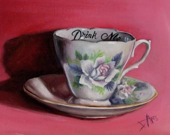 Alice in wonderland tea party inspired Fine art print Drink me Tea cup art vintage home décor
