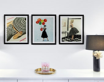 black and white wall art prints ,archival fine art print mid century modern vintage inspired , Brigitte Bardot and Audrey hepburn
