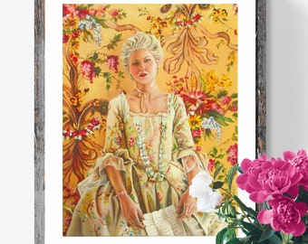 Marie Antoinette art Print , rococo style , French provincial art, movie inspired art
