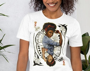 Queen of hearts ,Rosie the riveter inspired Short-Sleeve Unisex T-Shirt , women of color mothers day shirt