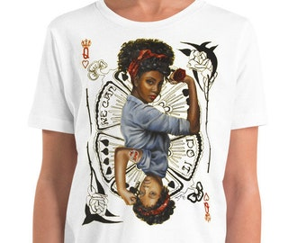 girl empowerment , Mothers day matching t shirt , queen of hearts and Rosie the riveter inspired Youth Short Sleeve T-Shirt