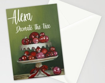 Alexa decorate the tree Christmas greeting card ,  ornaments and holiday decor  art