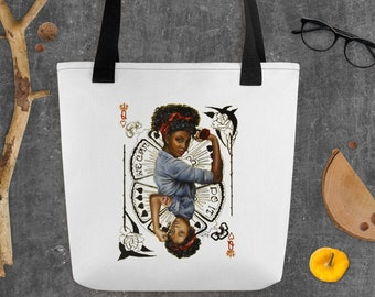 Rosie the riveter and Queen of Hearts inspired tote bag , mothers day gift ,retro women empowerment