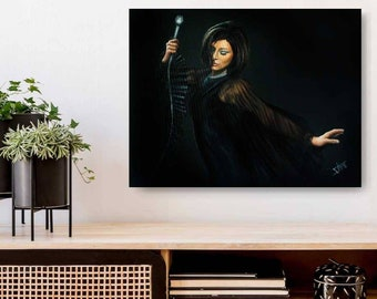 Original oil painting Mad Men Art , Jessica Paré inspired from zou bisou dance scene ,mid century modern  living room wall art