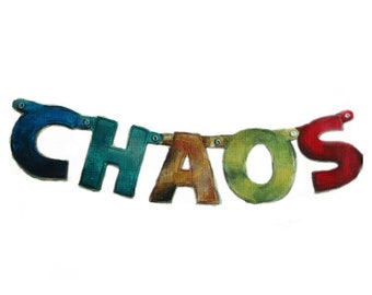 Chaos Art print from original painting, Calligraphy /typography art