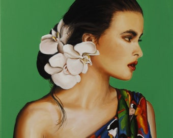Portrait of  Helena Bonham Carter wrapped in a pareo art print from original oil painting