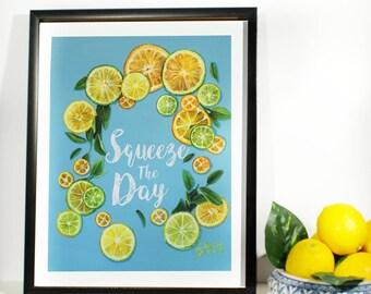 Lemon art print , custom quote e.g:Squeeze the day , Lemon wreath
