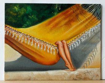 Hang in there retro wall art, Vintage summer art print, yellow hammock in tropical beach relaxing art , bedroom art