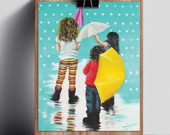 Kids room Decor wall art , colorful 3 Little girl friends or sisters Art