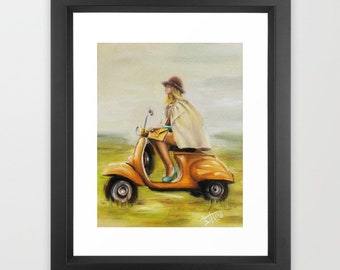 Retro Scooter art print V for Vespa , Vintage wall art, Italian girl freedom and happiness ,women empowerment feminist