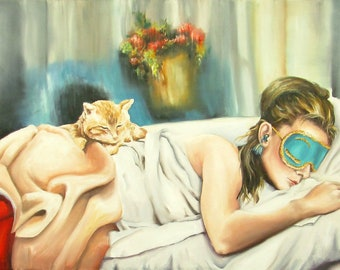 Audrey Hepburn art print Breakfast at Tiffany's Holly Golightly sleeping with eye mask and cat