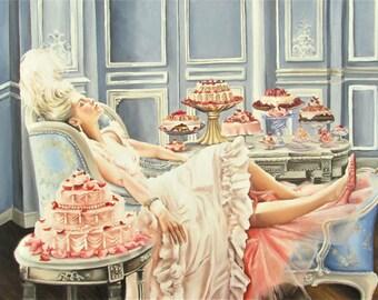 Marie Antoinette fine art Print from original painting  , let them eat cake , rococo art