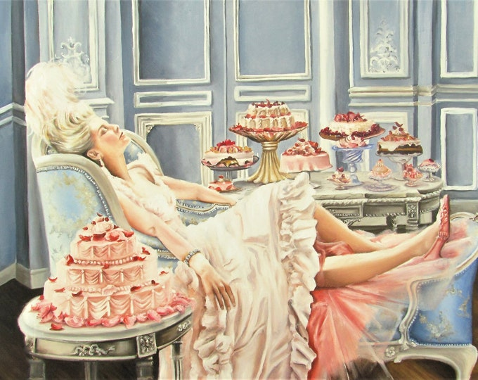 Featured listing image: Marie Antoinette fine art Print from original painting  , let them eat cake , rococo art