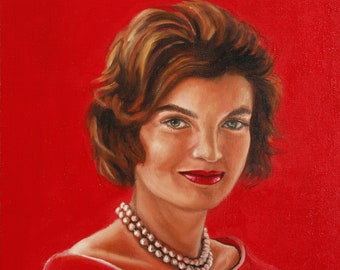 Jackie Kennedy original oil portrait ,beloved First Last and Fashion icon Jacqueline Kennedy Onassis