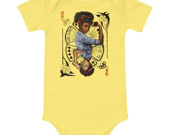 Rosie the riveter and queen of hearts inspired art, Baby short sleeve one piece  , matching mom and baby