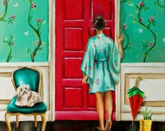 Retro whimsical Art print ,vintage home decor chinoiserie ,doorway art , bedroom art and living room art