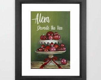 Alexa Decorate the tree , Christmas ornaments wall art ,holiday wall art decor