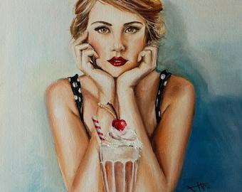 Vintage wall art portrait inspired art print , Waiting for summer ,retro girl in soda shoppe retro vibe art ,