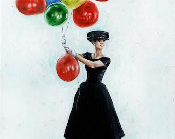 Audrey Hepburn inspired art print , Funny face Paris balloons scene cheerful Birthday art