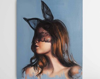 Original oil painting portrait, Bunny girl , Woman in black lace bunny mask ,wall art