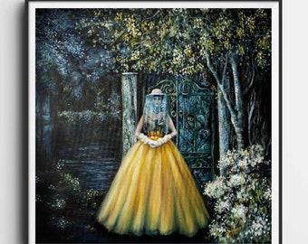 "Queen bee art print, from original oil painting ""The BeeKeeper"" Women Empowerment, Large Wall Art Piece"