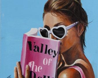 Retro portrait art print bathing beauty reading Valley of the dolls novel