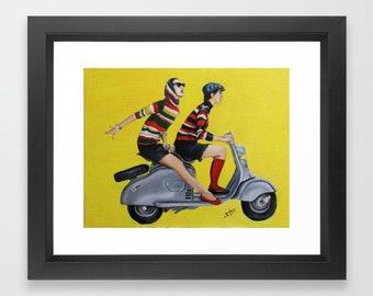 Retro Art Print  ,Vogue  inspired retro girls on vespa or scooter titled Ride Away , couple art