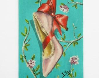 High heels with a bow , fancy shoe art , feminine art , self care
