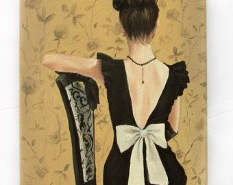 "little black dress and white bow fashion art print 8x10"""
