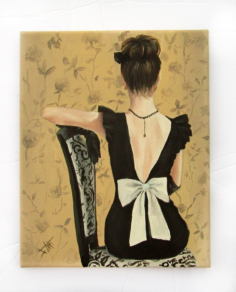 little black dress and white bow fashion art print 8x10 image 0