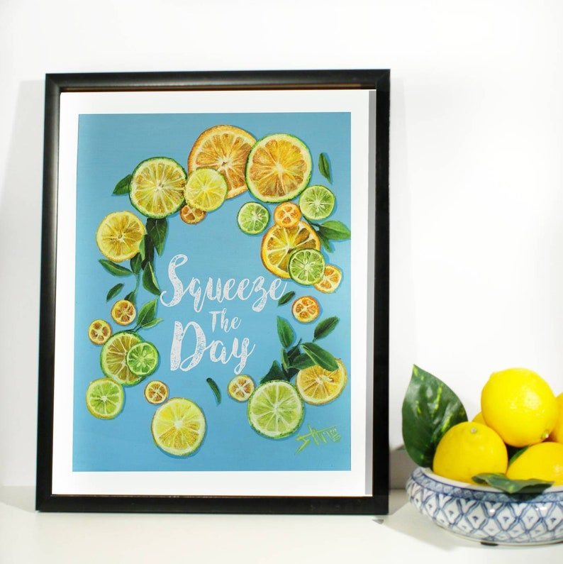 Lemon art print  custom quote e.g:Squeeze the day  Lemon image 0