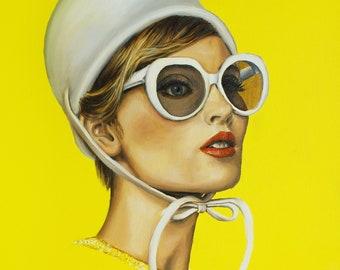 Retro art print of 60's portrait ,illuminating yellow art , inspired from Audrey Hepburn style